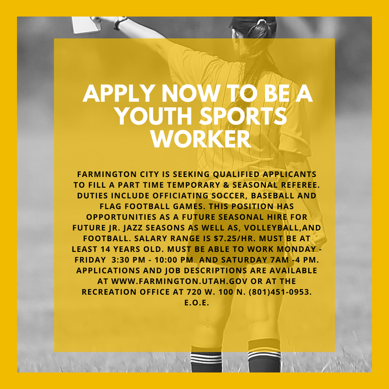 Apply now to be a Youth Sports Worker