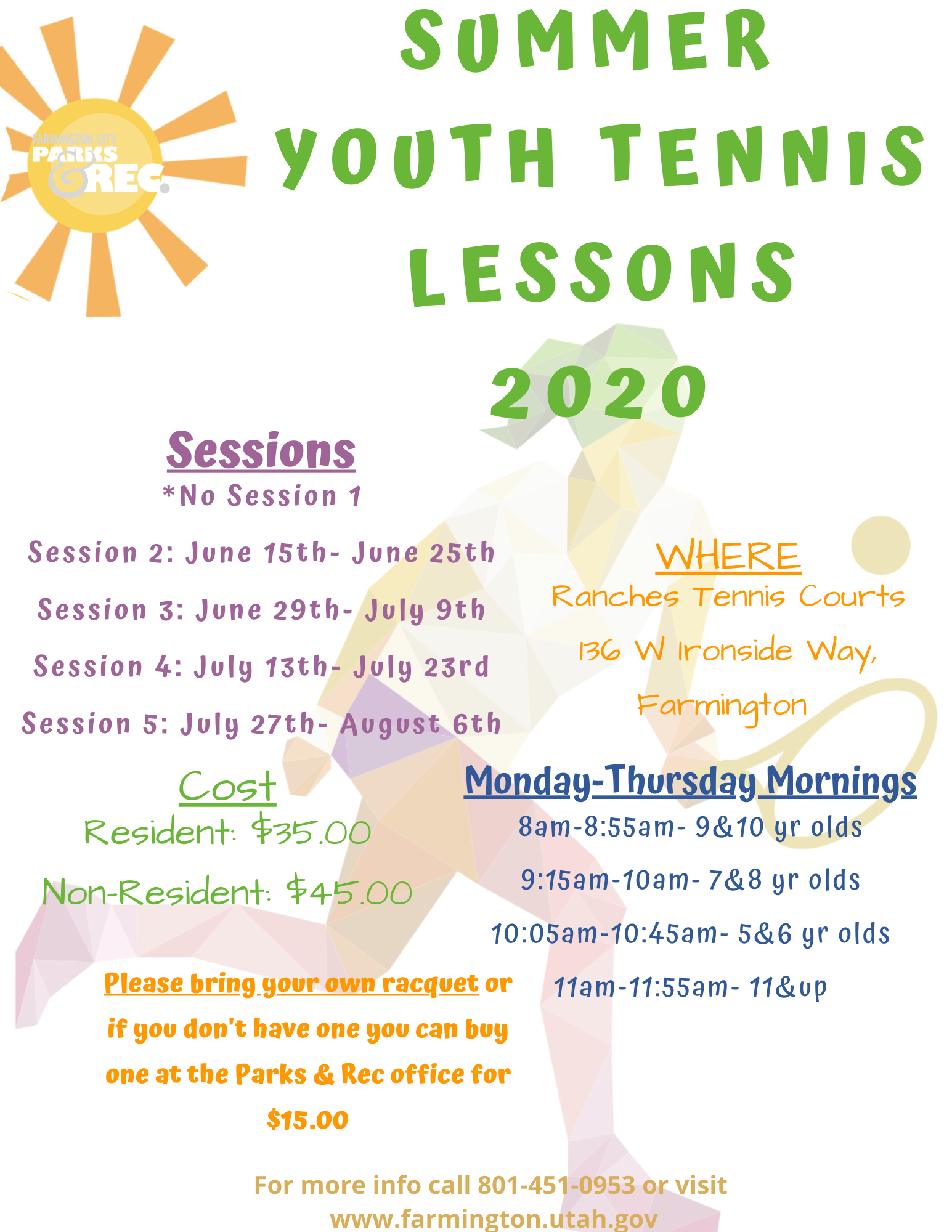 Summer Youth Tennis Lessons