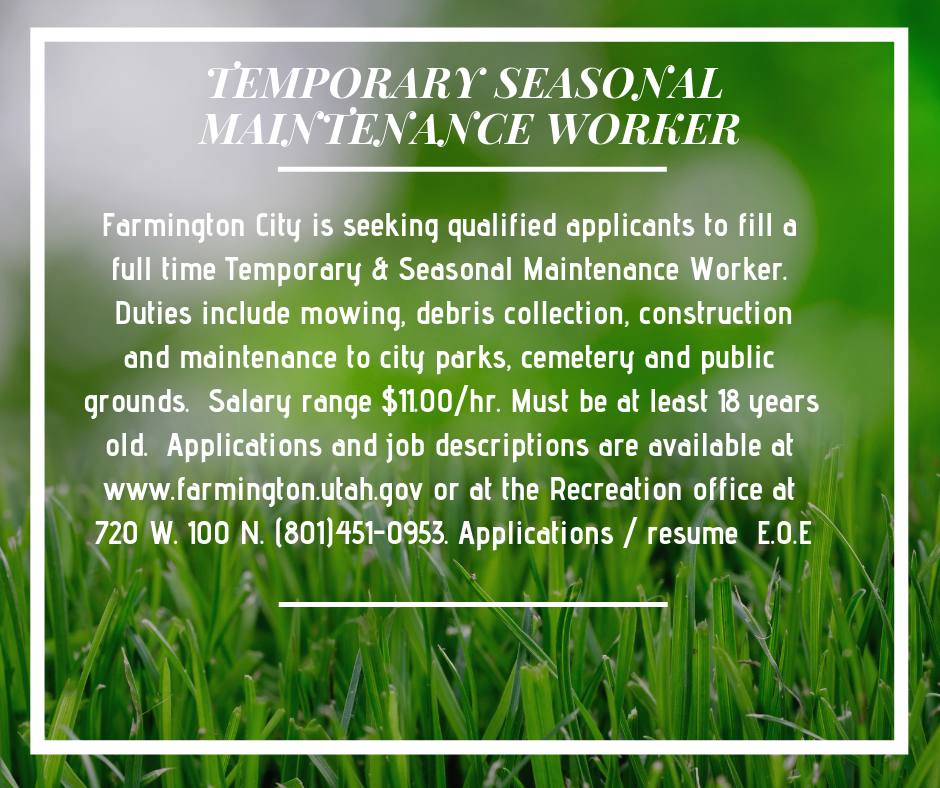 Temporary Seasonal Maintenance Worker 2019