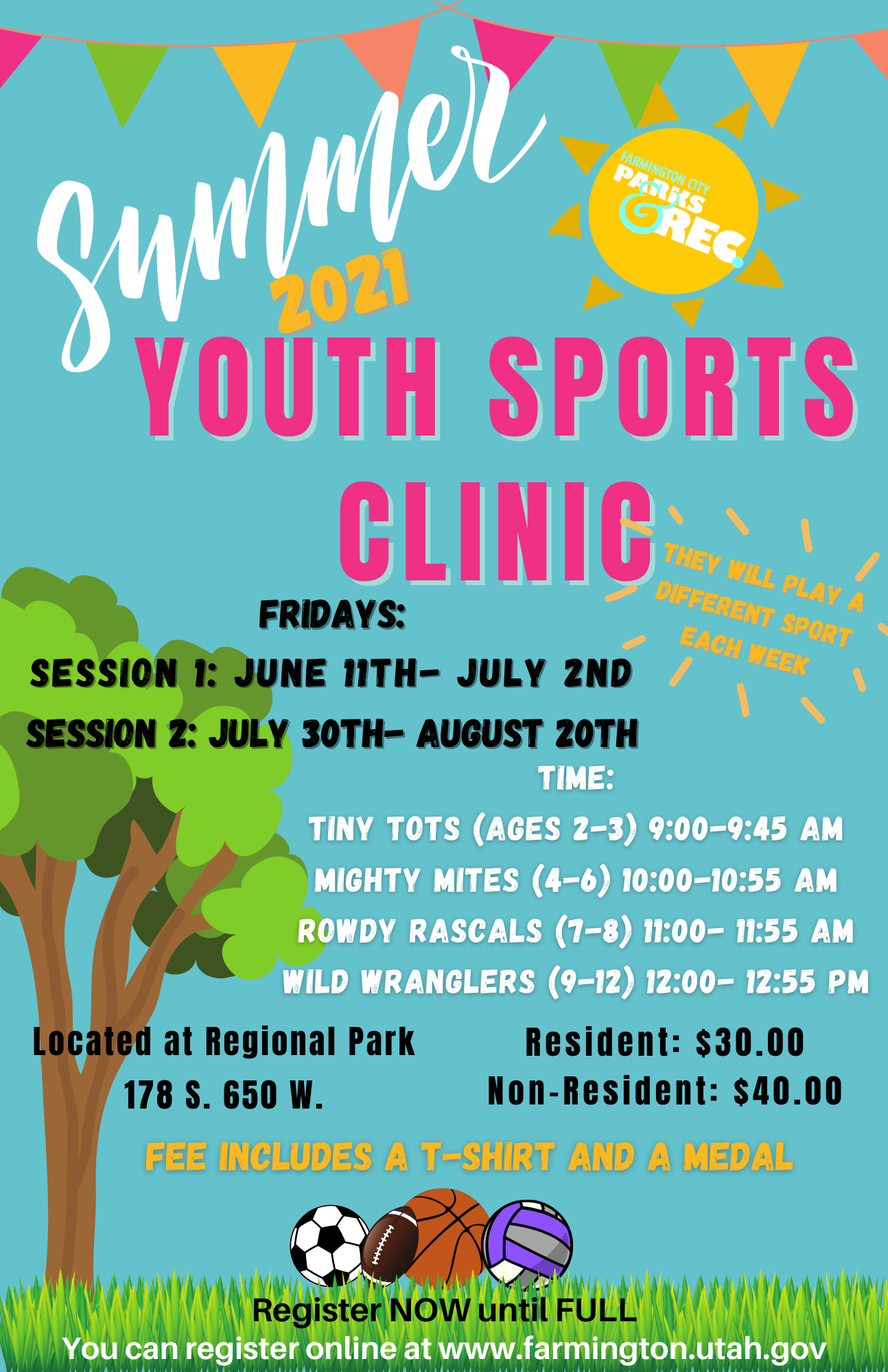 Summer Youth sports clinic flyer 2021