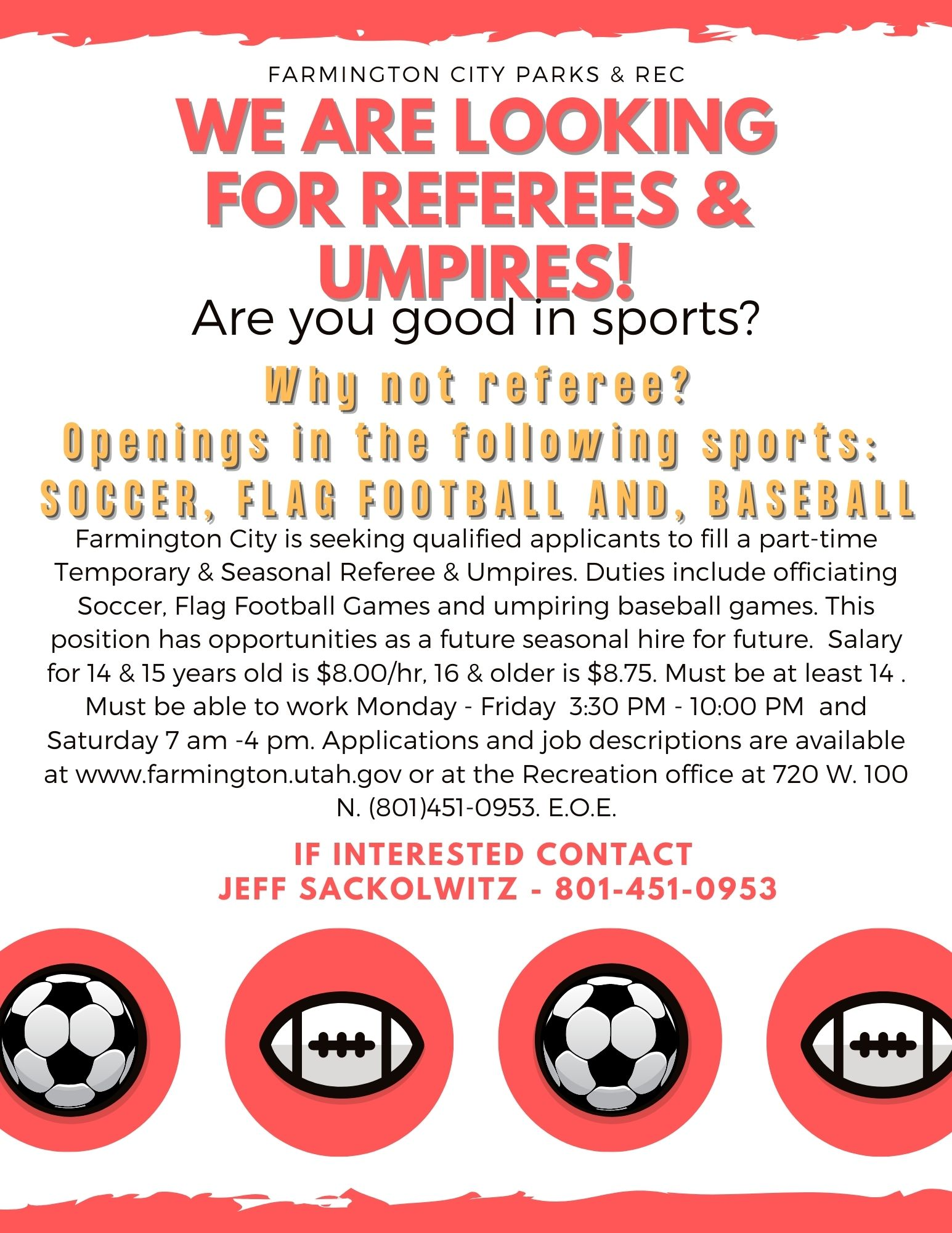 We are Looking for Referees!